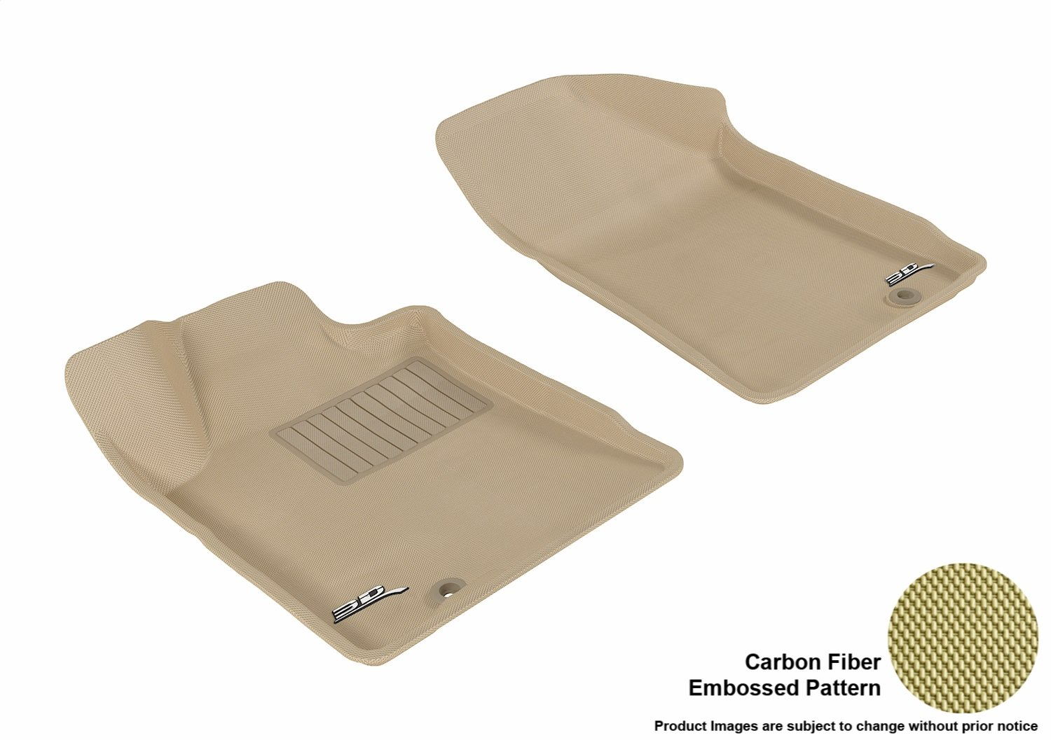 Kagu Rubber 3D MAXpider Front Row Custom Fit All-Weather Floor Mat for Select Nissan Maxima Models Tan