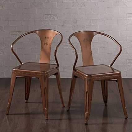 amazon com brushed copper tabouret stacking dining chairs set of