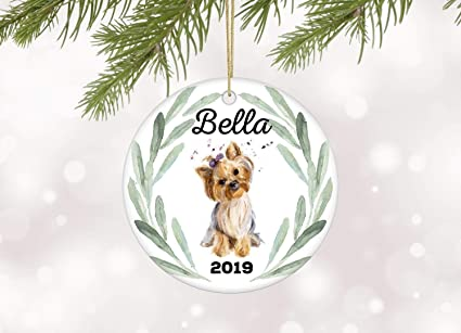 Amazon Com Slobyy Yorkshire Terrier Christmas Ornament Personalized