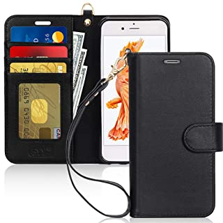 """FYY [Luxury Genuine Leather Wallet Case for iPhone 6S Plus/iPhone 6 Plus, [Kickstand Feature] Flip Folio Case Cover with[Card Slots] and[Note Pockets] for Apple iPhone 6 Plus/6S Plus (5.5"""") Black"""