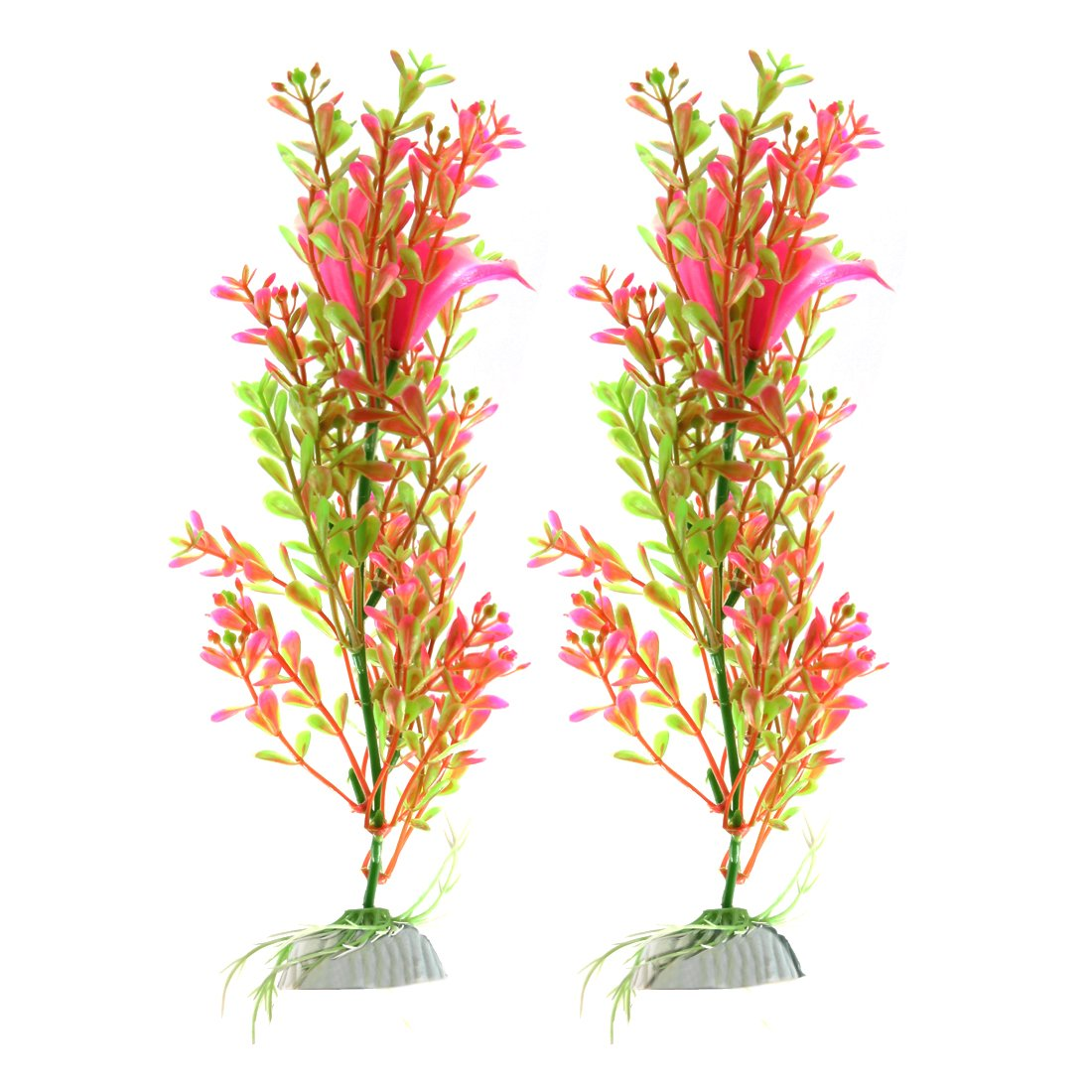 Green,Pink Type 3 Green,Pink Type 3 uxcell® 2pcs Pink Green Plastic Plant Aquarium Fishbowl Waterscape Decor Ornament