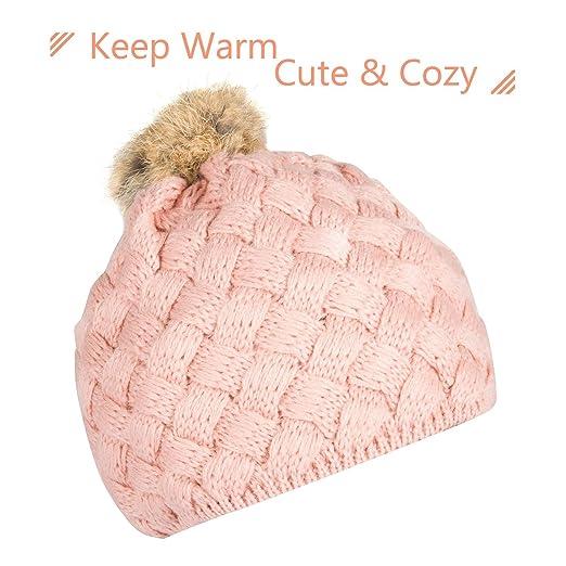 b6310c8664012b Amazon.com: Zodaca Winter Warm Comfort Soft Crochet Pom Pom Beanie Knit Hat  for Baby, Boys, Girls, Infant, Toddler, Pink: Clothing