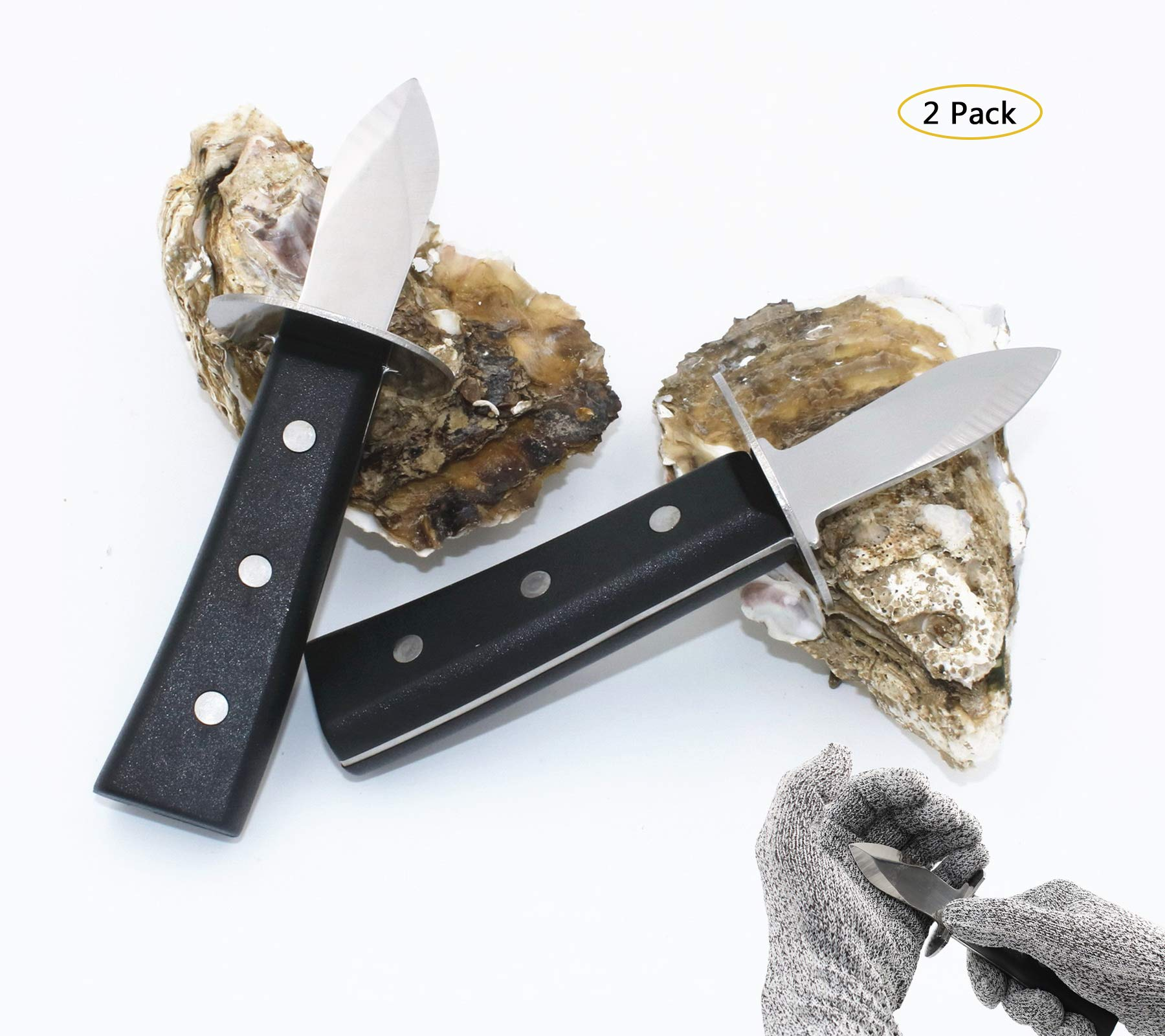 Oyster Shucking Knife Stainless Steel With High Performance Protection Food Grade Cut Resistant Gloves, Easy To Shucking Oysters (2pcs / set)