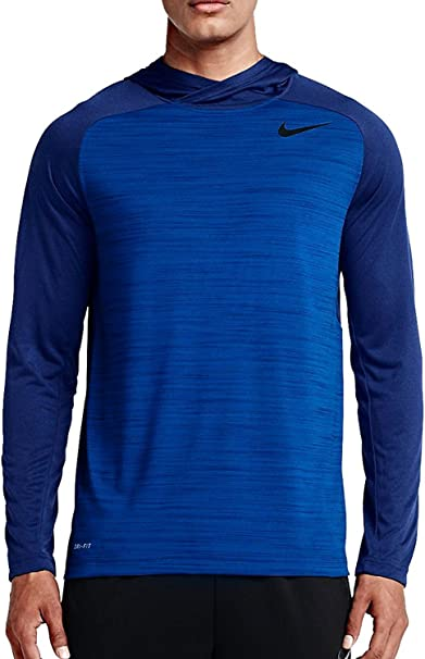Authentic Nike Dri Fit Tee Hoodie Blue White  Large
