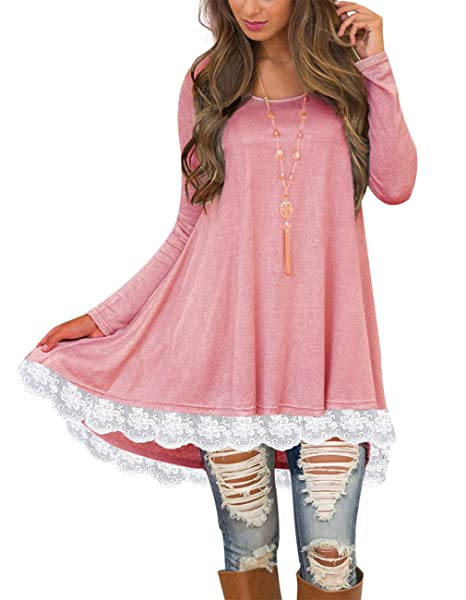 52aeca63c11d Sanifer Women s Lace Long Sleeve Tunic Tops with Pockets Long Tunic Shirts  for Leggings (Small