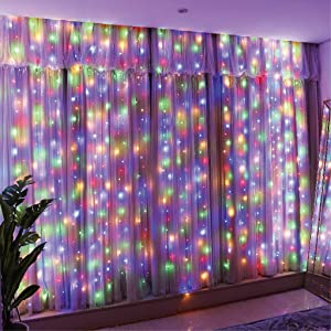 Curtain Lights,String Lights with Remote,LED Fairy String Lights for Room,Wall,Halloween,Christmas,Bedroom,Home and Wedding Decor,8 Twinkle Modes,10Ft,300LED Indoor USB String Light Multi Color
