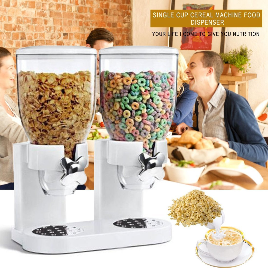 Dailyinshop El envase de Almacenamiento del dispensador de alimento seco del Cereal dispensa la Máquina de la Cocina para el Regalo (Color: Blanco): ...