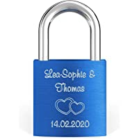 LIEBESSCHLOSS-FACTORY Candado de amor Azul grabado, Caja de regalo y mucho mas. ¡Crea tu propio candado grabado ahora!