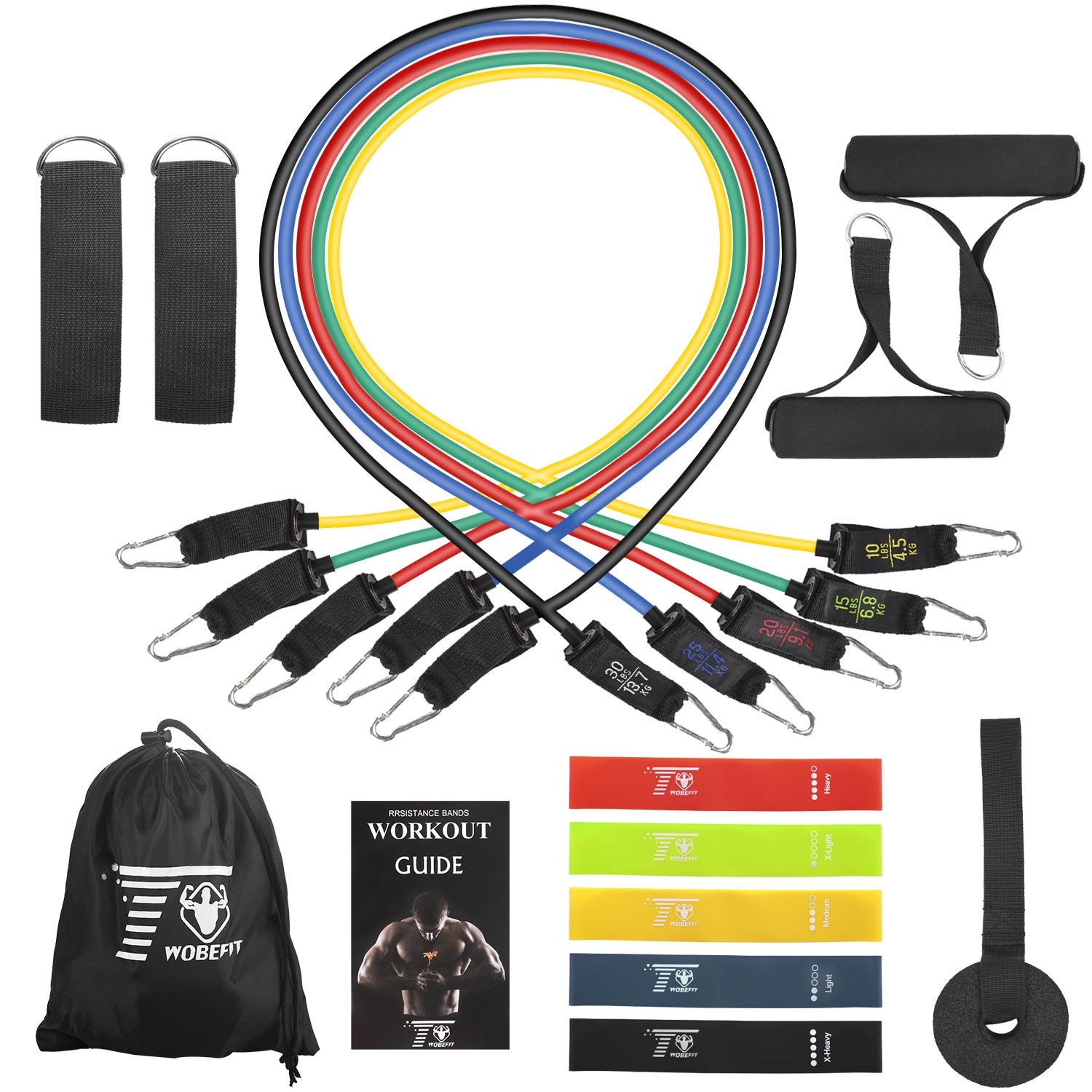 TwobeFit Resistance Bands Set, Exercise Bands with Handles, Workout Tubes, Door Anchor, Ankle Straps and Workout Guide Attached- for Resistance Training, Home Workouts, Physical (RBS+L)