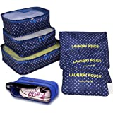 Hopsooken 7 Set Travel Cube System - 3 Packing Cubes + 3 Pouches + 1 Premium Shoes Bag (7 Sets, Navyblue Spot)