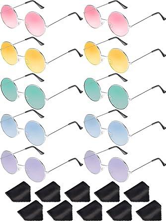 Blulu 10 Paires Lunettes de Soleil Rondes Hippie Lunettes de Soleil Rondes  Multicolores de Style John 05bec78a20d5