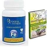 Eisentabletten hochdosiert, Eisen Kapseln Vegan + Hohe Bioverfügbarkeit, incl. ausführlichem eBook zu Nahrungsergänzungen, 90 Kapseln + Vitamin C + Vitamin B12 + Biotin, hergestellt in DE, von Food & Fitness