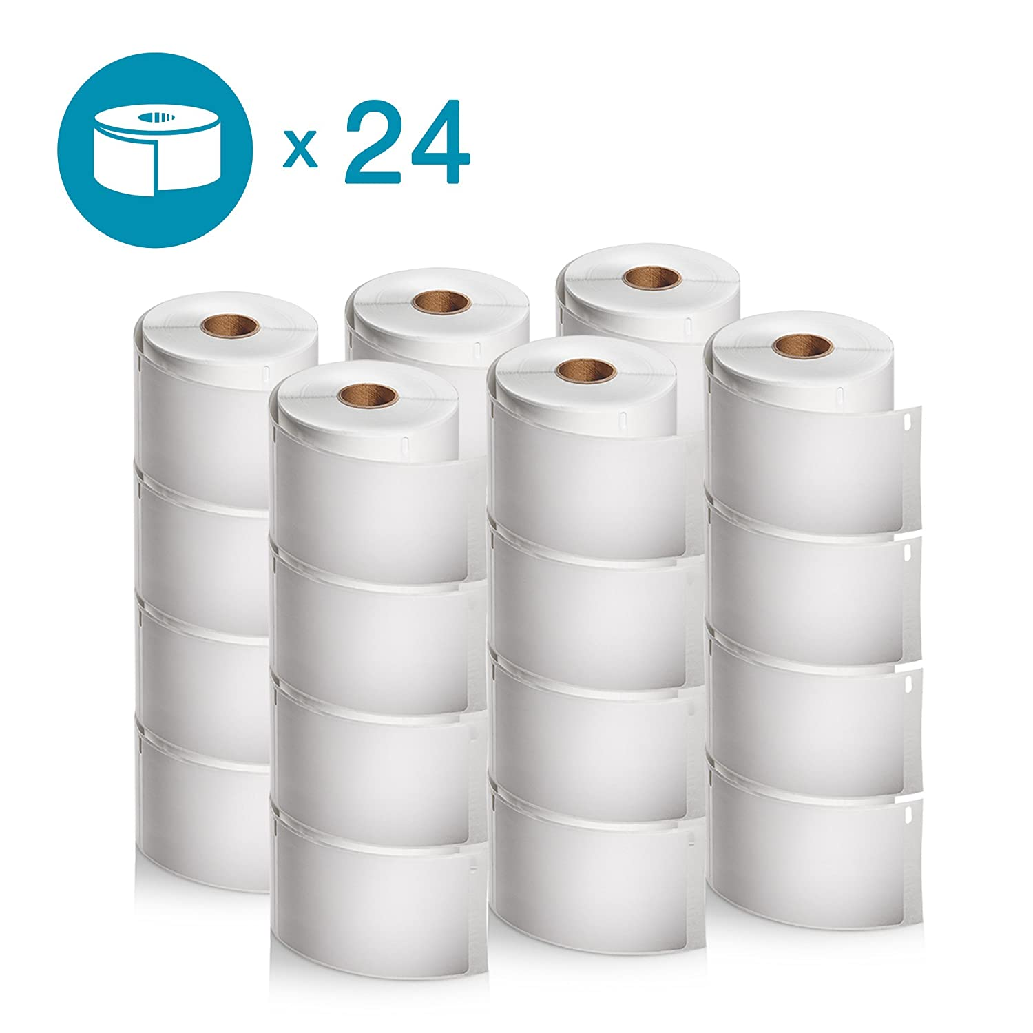 DYMO Authentic LabelWriter Standard Shipping Labels for LabelWriter Label Printers (30256), Weiß, 2-5 16'' x 4'', 24 rolls of 300