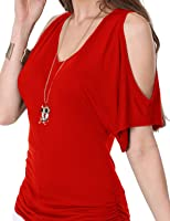 J.TOMSON Women's Short Sleeve Deep V-Neck & Crewneck Cut Out Shoulder Top BRIGHTRED 3XL