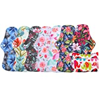 Simfamily 8 Pack Bamboo Charcoal Reusable Waterproof Cloth MenstruaL Pads Heavy Flow Over Night Sets