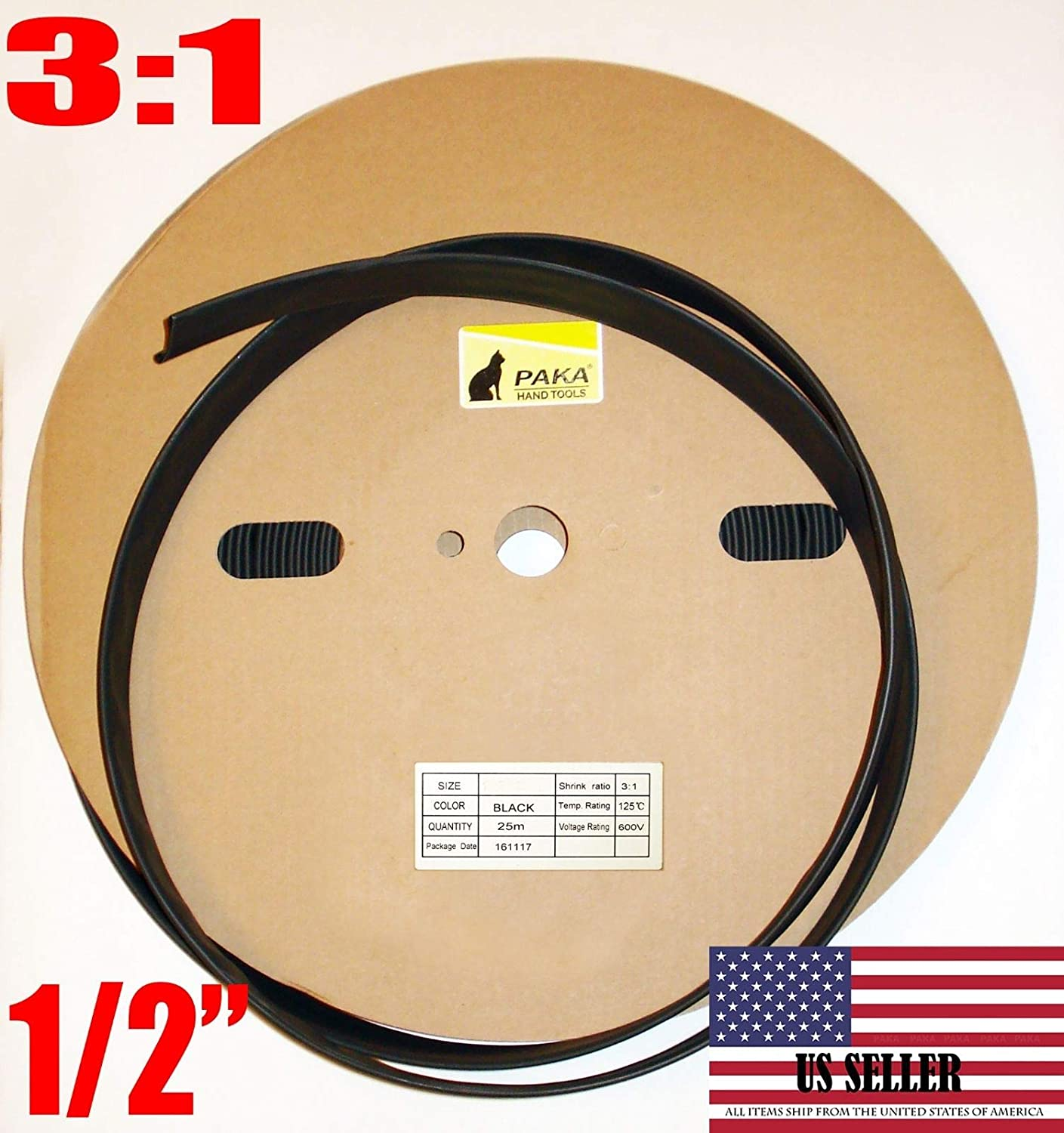 """100Ft 1//2/"""" 12mm Black 3:1 Dual-Wall ADHESIVE Lined Heat Shrink Tubing"""