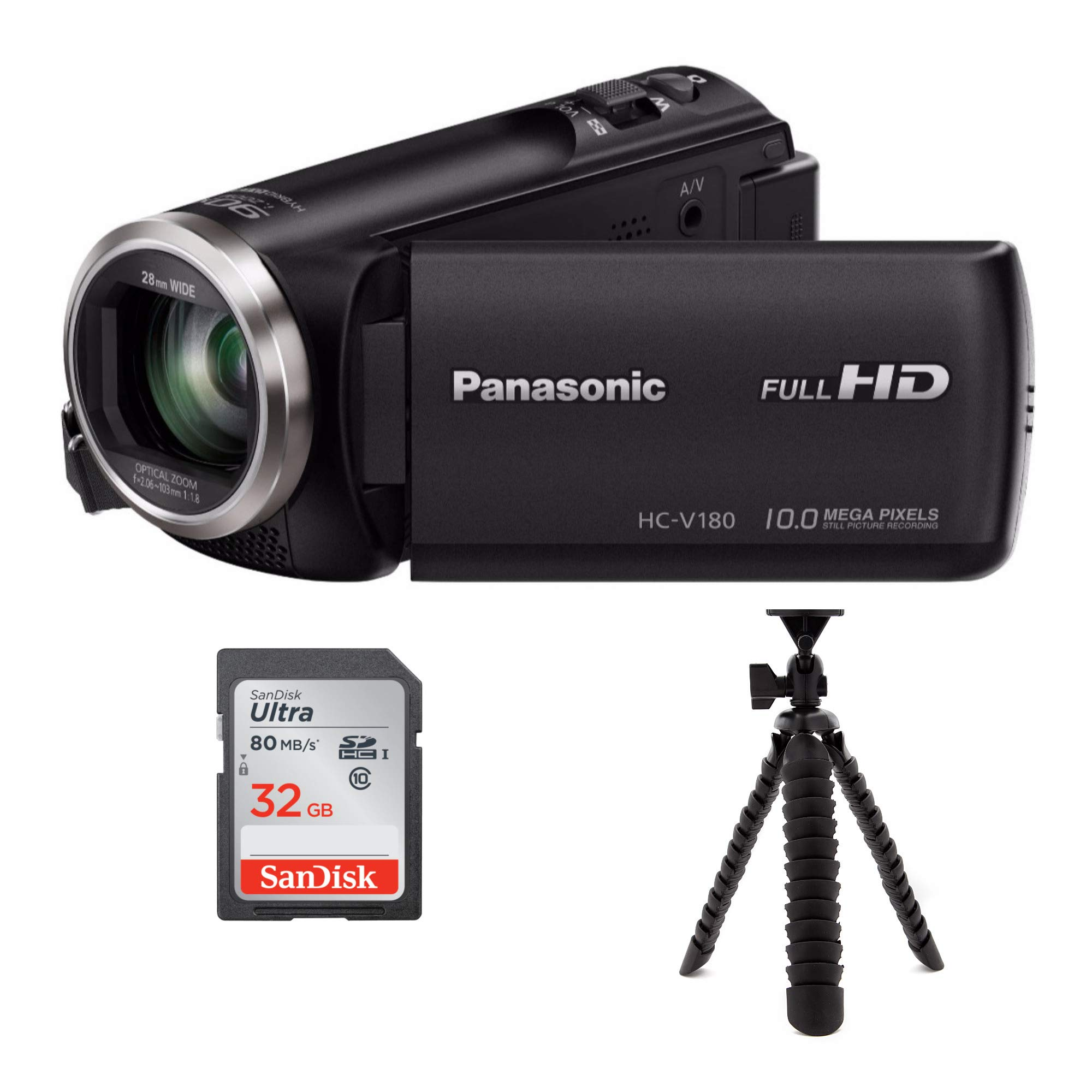 Panasonic HC-V180K Full HD Camcorder with 50x Optical Zoom Bundle Includes SanDisk Ultra 32GB SD Card and Flexible 12'' Spider Tripod by Panasonic