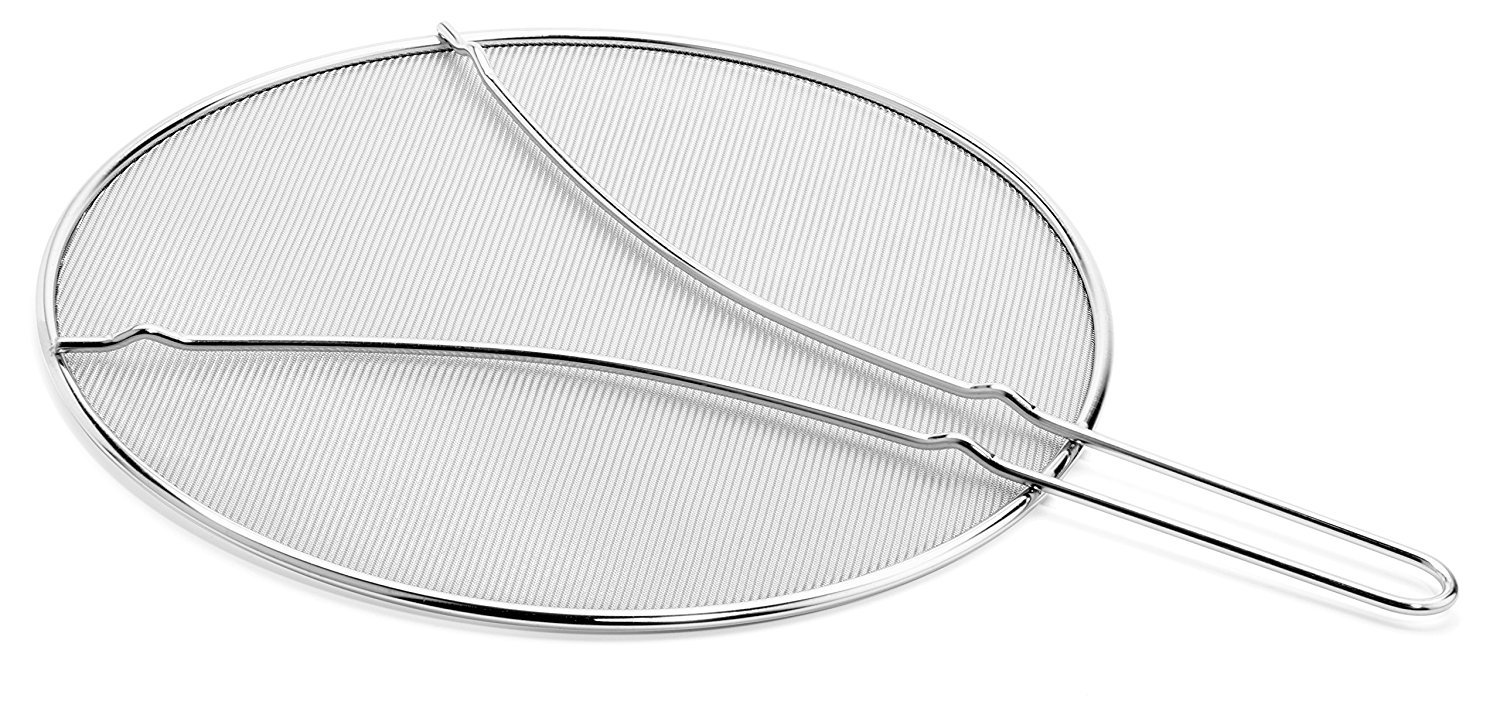 Cucinare Splatter Screen Guard with Double Thick Mesh for Cooking Stainless Steel with Finest Woven Mesh and Resting Feet by Cucinare