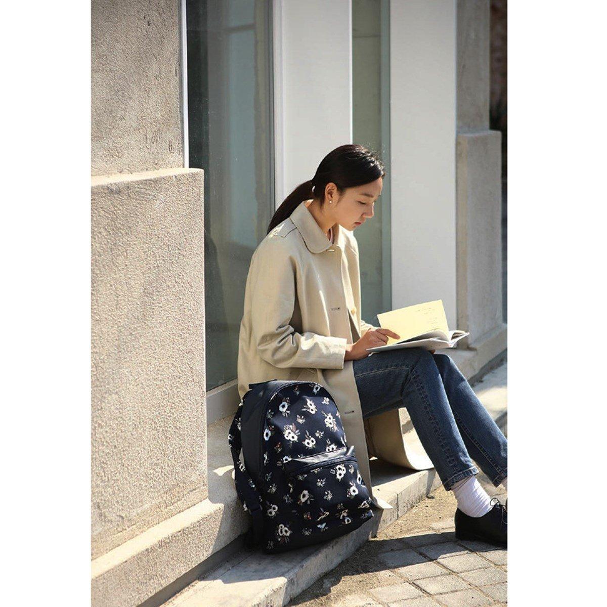 Caveenキャンバスバックパック犬かわいい学校ブックバッグFunny Star Shoulder Bag for Kids /女の子/男の子/ Teenagers B078J6QZYX Flamingos Dark Blue