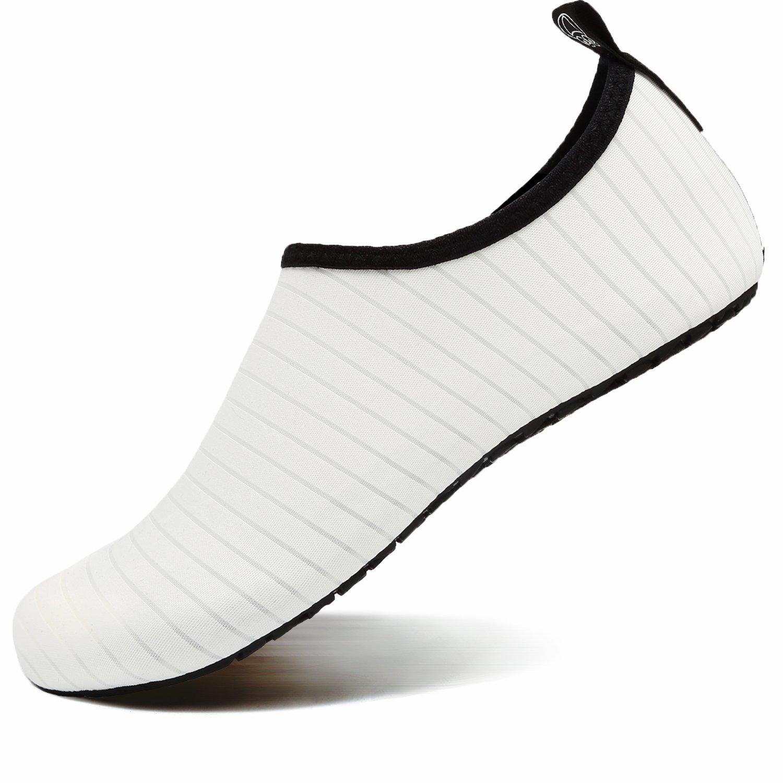 VIFUUR Water Sports Shoes Barefoot Quick-Dry Aqua Yoga Socks Slip-On for Men Women Kids White-42/43