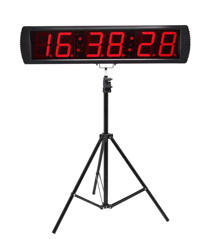 Huanyu LEDデジタルクロック タイマー 大型 6桁 高精細度 時計 カウントダウン 30m可視 オフィス/教室/家/ジム用 三脚含め 415mm*100mm*40mm
