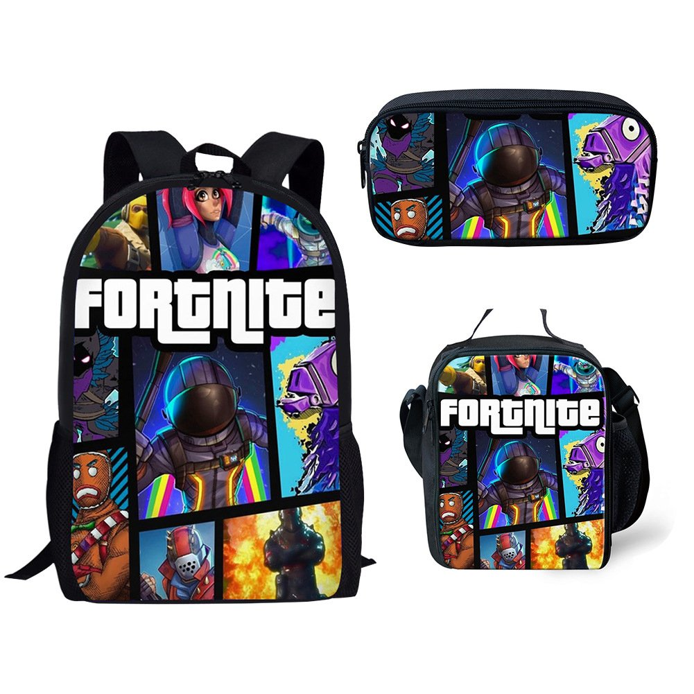 School bags Knowooh Fortnite games pattern school backpack for girls orthopedic Schoolbag backpacks for kids (Blue, One Bag)