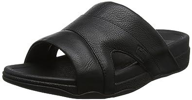 ac498784a4748c FitFlop Men s Freeway Pool Slide in Leather Sandal Black 8 M US