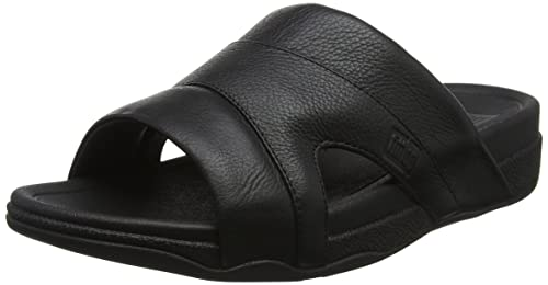 91388f3ec851 Fitflop Men s Freeway Pool Slide in Leather Open Toe Sandals  Amazon ...