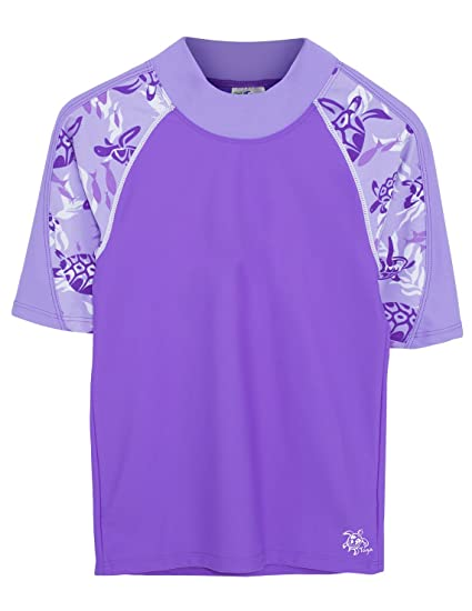 5a3fc97686 Amazon.com  Tuga Girls Short Sleeve Rash Guard 1-14 Years