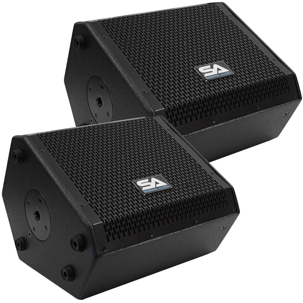 Seismic Audio - SAX-10M-Pair - Pair of Compact 10 Inch 2-Way Coaxial Floor / Stage Monitors with Titanium Horns