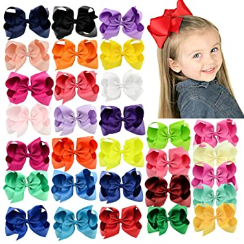 Amazon Com Kicosy 6in Bows For Girls 6 Inch Hair Bow 3 Inch Bows