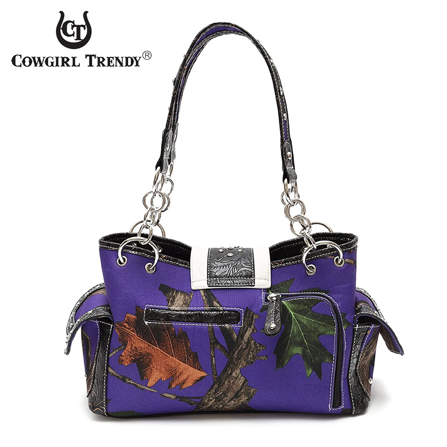 Cowgirl Trendy Western Cross Camouflage Purse Shoulder Bag Handbag Phone Case Wallet Set Black
