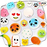 Acetek Squishy Toys 20 PCS, Cute Kawaii Soft Squish Toy Bread Panda Emoji Fruit Animal Stress Relieve Squeeze Soft Lovely Toy Kids Gift Fidget Toy Slow Rising Key Chain Strap Charms Pendent Decoration
