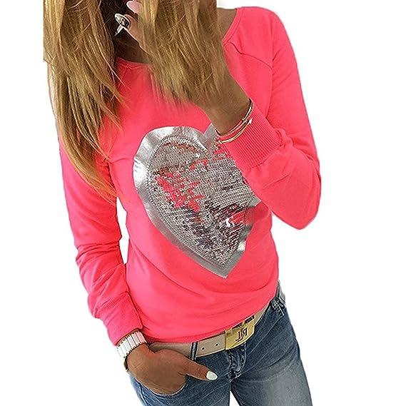 Primavera Camiseta para Mujer Moda Patrón de Corazón Lentejuelas Blusa Cuello Redondo Manga Larga T-Shirt Elegante Otoño Casual Algodón Camisa Top S-5XL: ...