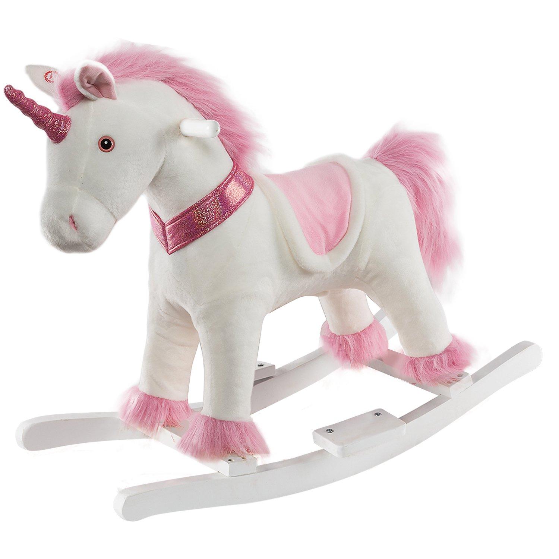 HollyHOME Plush Rocking Unicorn Rocking Horse Plush Rocking Animals