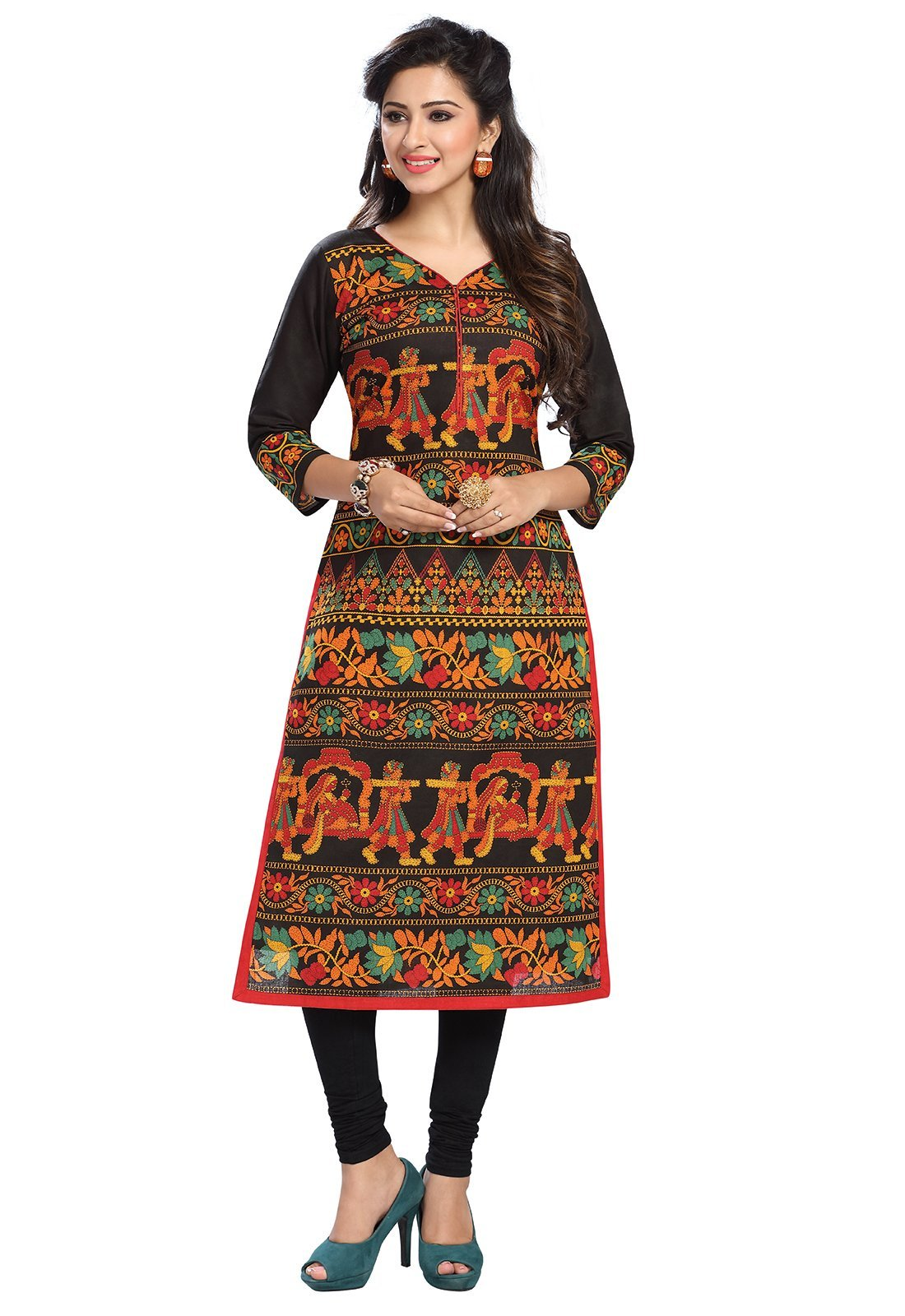 Ishin Women's Cambric Cotton Black Indian Kurta Tunic & Top