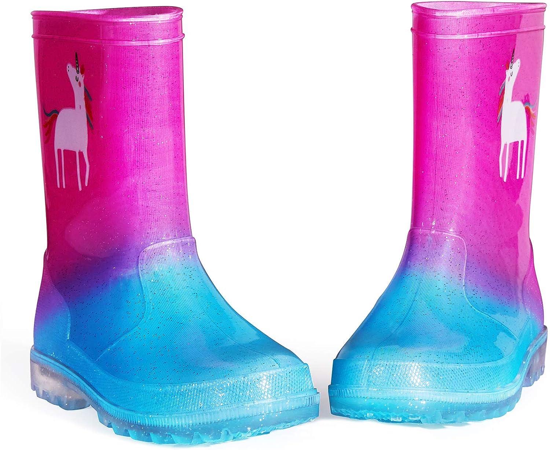 Wellington para ni/ñas y ni/ños luces intermitentes 1-2 K KomForme Botas de lluvia para ni/ños talla 4-13