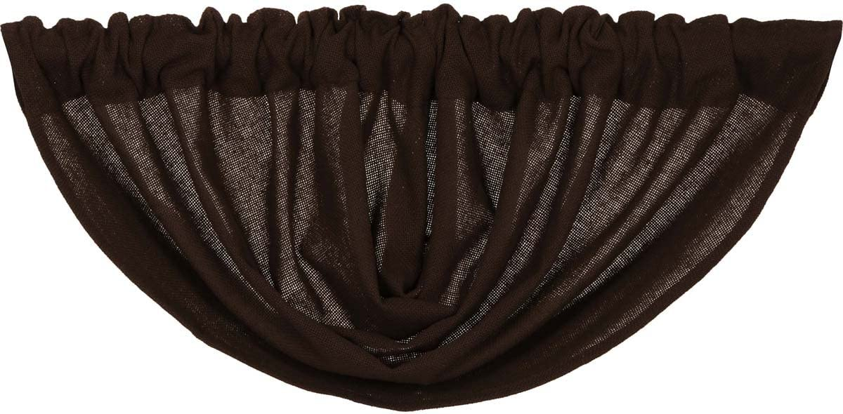 VHC Brands 6140 Burlap Chocolate Balloon Valance 60×15