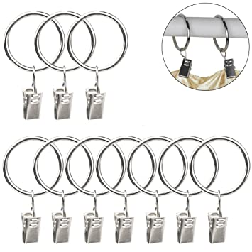 24Pcs Curtain Rings Clips, SUMERSHA Metal Drapery Cloth Pegs With Ring  Pincer Clip Curtain Rod  Curtain Rod Rings