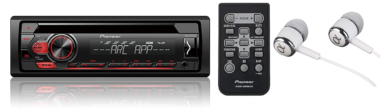 Pioneer Single DIN in-Dash CD/CD-R/RW, MP3/WMA/WAV AM/FM Front USB/Auxiliary Input MIXTRAX and ARC Support Car Stereo Receiver Detachable face Plate/Free ALPHASONIK Earbuds
