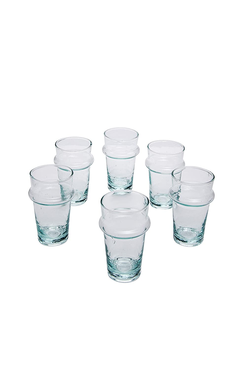 Set of 6 Moroccan Tea Glasses Hayat Transparent Clear Colors | Turkish Glass as Tealight Holders in Oriental Decor | Ornate Cups in Morocco Style as Home or Kitchen Decorations | Different Patterns