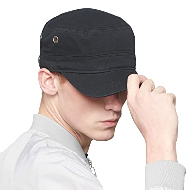 9b6d6864734 CACUSS Men s Cotton Army Cap Cadet Hat Military Flat Top Adjustable  Baseball Cap (Black