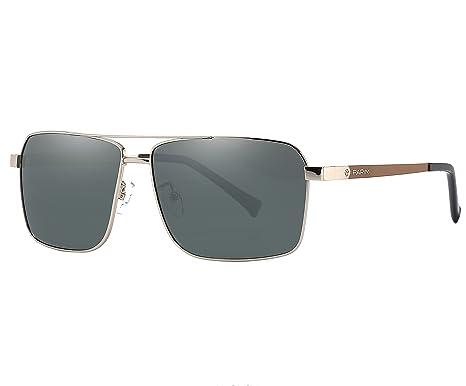 674016ce3be PARIM Polarized   UV Protected Metal Rectangular Sunglasses for Men ...