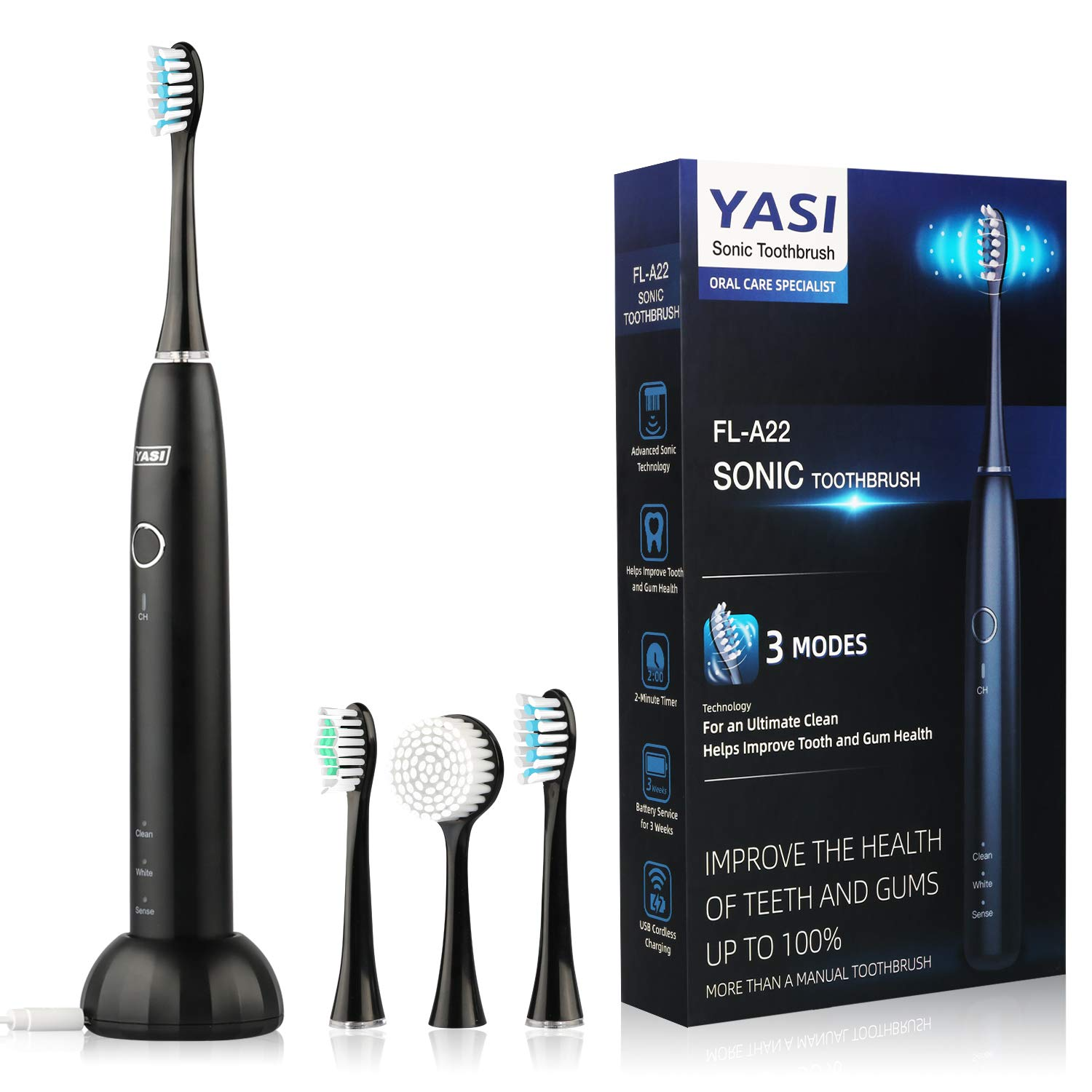 Sonic Electric Toothbrush,50,000 VPM Whitening Toothbrush Rechargeable With 2 Brush Heads,1 acial Cleansing Brush,Wireless Charging,Adult Waterproof Ultrasonic Toothbrush with 3 Modes&Smart Timer by YASI