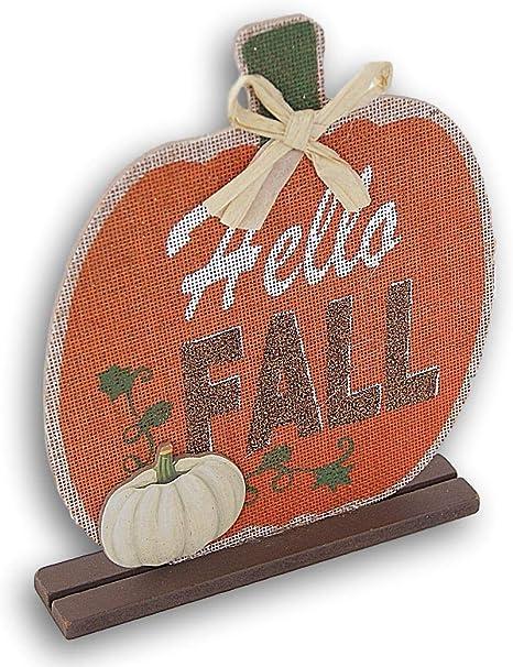 BB Fall Decor Hello Pumpkin Gray and Orange Resin Sign
