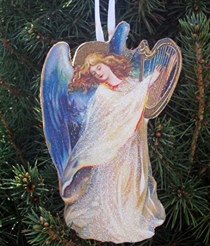 angel playing harp ornament handcrafted wooden christmas decoration renaissance angel carols religious nativity scene pastor - Handmade Angels Christmas Decorations