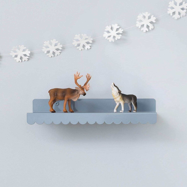 Decorative Small Shelf Grey Metal Scallop Shelf Picture ledge