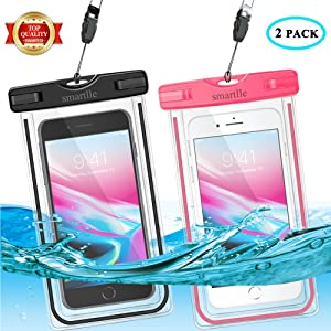 smartlle Universal Waterproof Phone Pouch, Large Phone Waterproof Case Underwater Dry Bag for iPhone XS Max, XR, XS, X, 8, 7, 6 Plus, Galaxy S10 + S9+ S8+,Note10, Soft Pouch for all Home Button-2 Pack