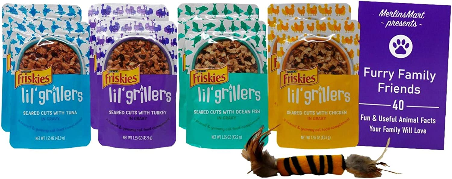 Friskies Gravy Wet Cat Food Pouches Lil' Grillers Variety - (2) Each: Tuna, Turkey, Ocean Fish, Chicken (1.55 Ounces) | Plus Catnip Toy and Fun Animal Facts Booklet Bundle