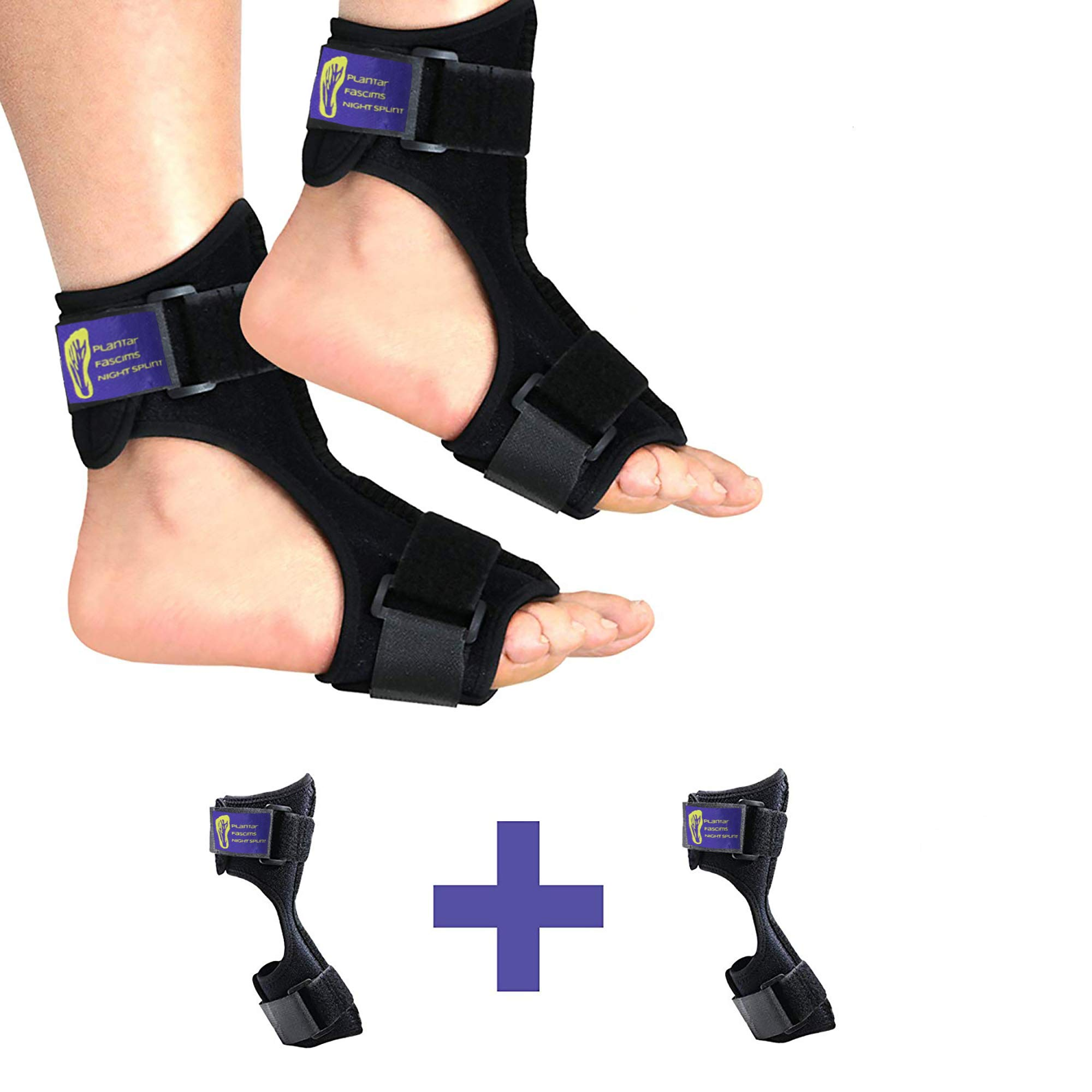 Pack of 2 - Everyday Medical - Plantar Fasciitis Night Splints for Both Feet - Plantar Fascia Pain Relief Sock- Stretching Support Boot Best for Achilles Tendonitis, Heel, Arch Foot Pain